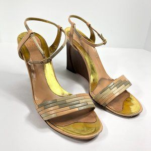 Fendi Strappy Wood Wedge Heels Vintage 90s Italy